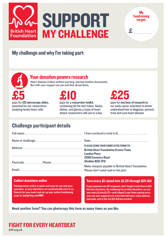 BHF Sponsorship Form  Charity Sponsor Form Template