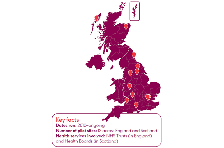 A map of the sites involved in the BHF FH cascade testing programme