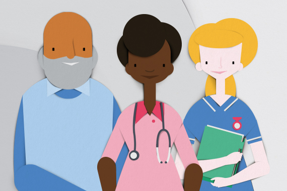 An illustration of a patient with healthcare professionals