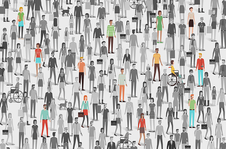 Graphic showing a crowd of people