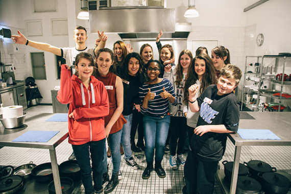 Image of young heart patients at a cooking school