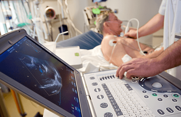 Echocardiogram being done on a patient
