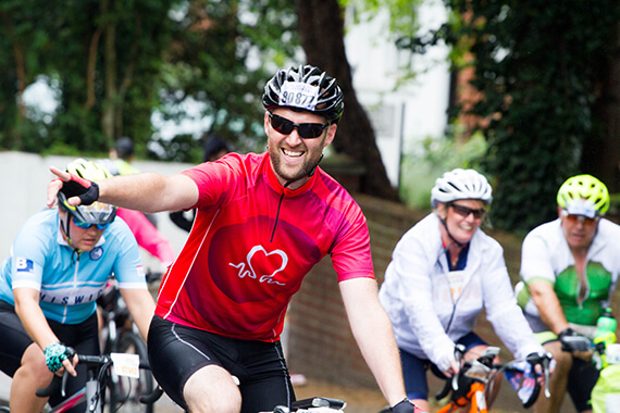Cycle enthusiast wearing BHF cycle jersey