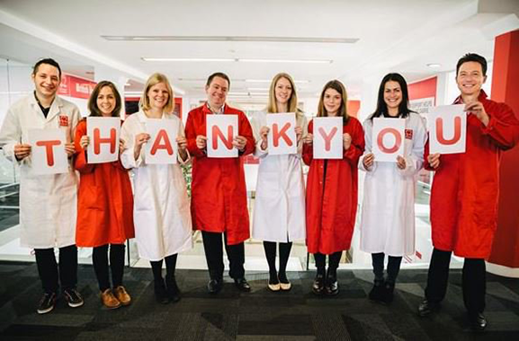 BHF colleagues spelling out thankyou