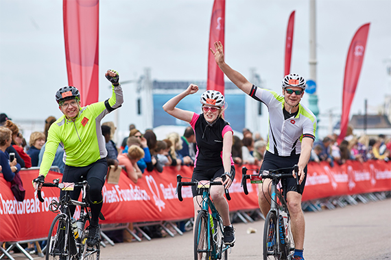 Three London to Brighton riders on the route