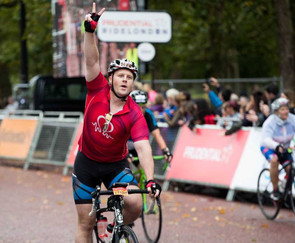 A Prudential RideLondon - Surrey 100 participant on the route in central London