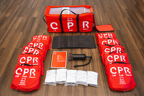 CPR kit with its contents displayed