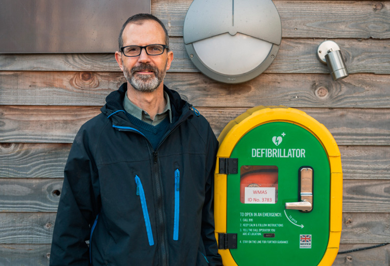 man with his defibrillator