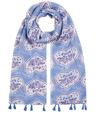 Blue Tassle Scarf with Heart and Bird Print from the British Heart Foundation and Celia Birtwell Collection