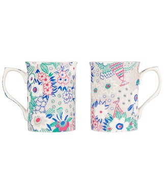 Pair of floral printed mugs from the British Heart Foundation and Celia Birtwell Collection