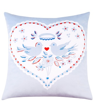Blue Velvet Cushion with Love Heart and Birds from the British Heart Foundation and Celia Birtwell Collection
