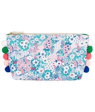 Floral printed wash bag with pom poms from the British Heart Foundation and Celia Birtwell Collection