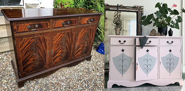 Linda Barker's upcycled sideboard before and after
