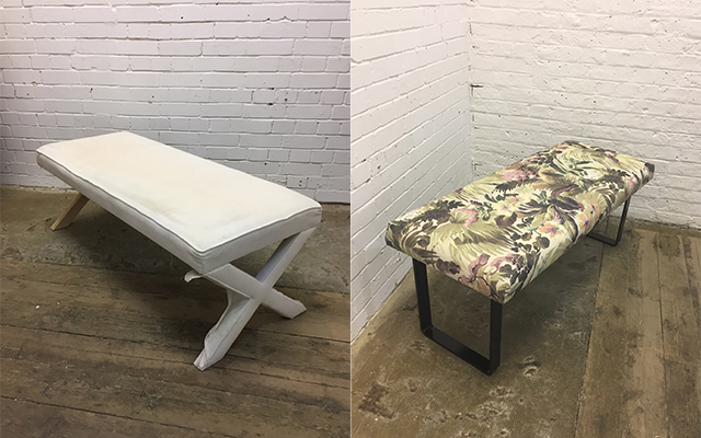 Footstool before and after upholstery