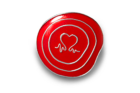 Plain red show some love pin badge