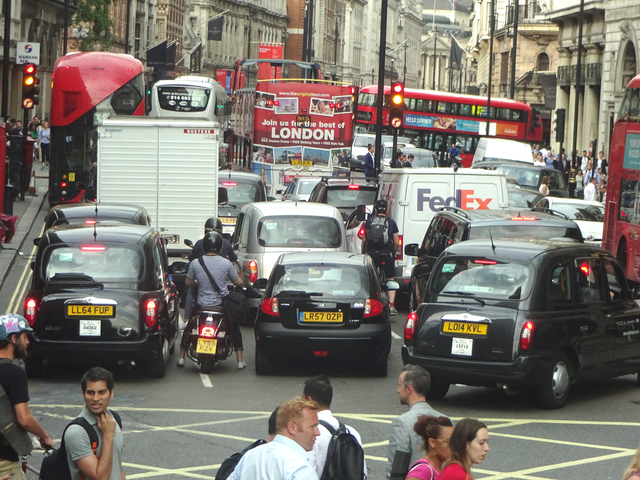 A busy street in London