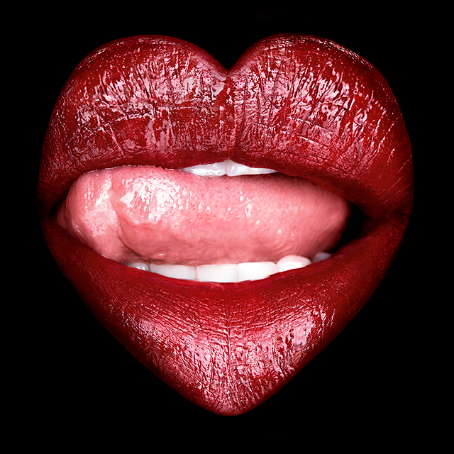 A stylised picture of lips in the shape of a heart
