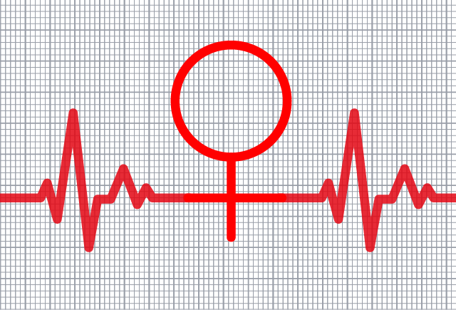 A stylised ECG trace including the Venus symbol