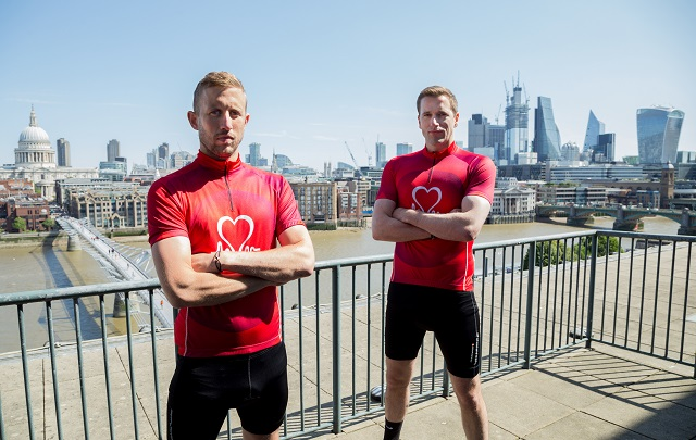 (L-R) George and Wilf Frost in front of a London skyline in BHF cycling tops to launch charity partnership with Prudential RideLondon-Surrey 100