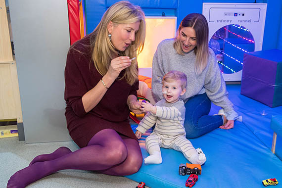 British Heart Foundation supporter Penny Lancaster meets 17 month old Arthur Harding and his mother Laura Farquharson at the Royal Brompton Hospital