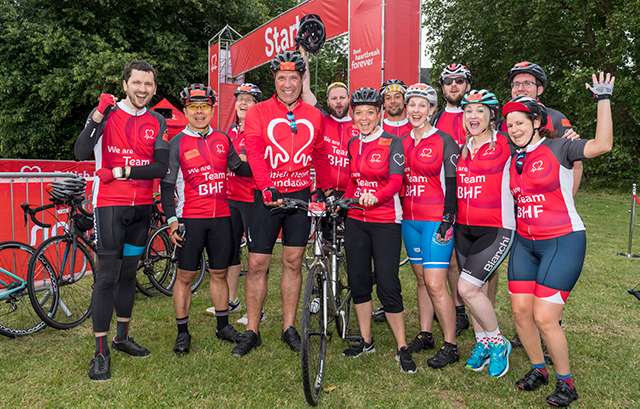David Seaman and Team BHF before the start of the London to Brighton Bike Ride