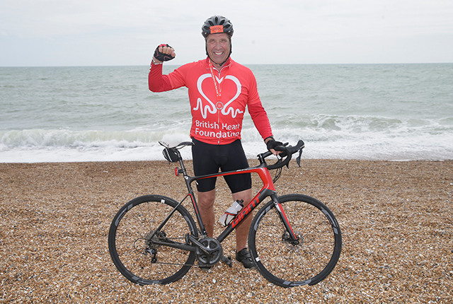 David Seaman on Brighton Beach at the end of London to Brighton 2018