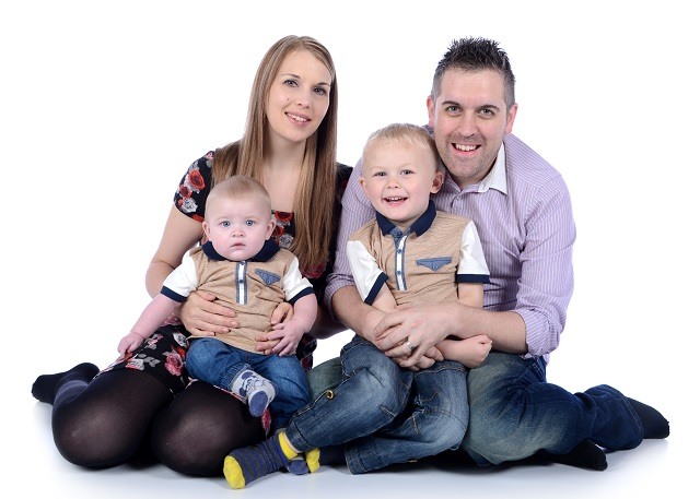 A picture of Paul Heywood and his family. Paul has an inherited heart condition called dilated cardiomyopathy, or DCM.