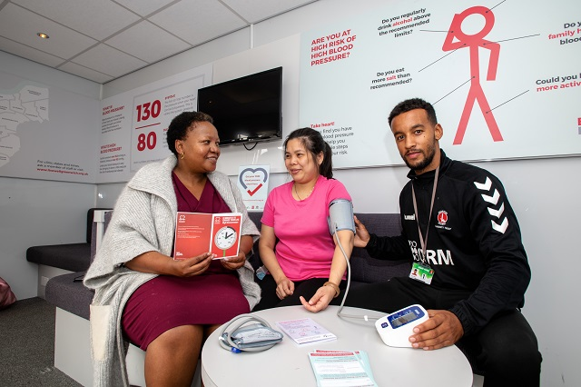 Greenwich residents get blood pressure checks by advisors from Charlton Athletic Community Trust, who deliver the BHF funded programme which is run by the Royal Borough of Greenwich and supported by Cllr Averil Lekau.