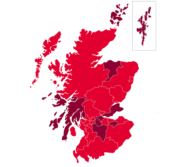 A map showing the councils in Scotland which which teach children CPR