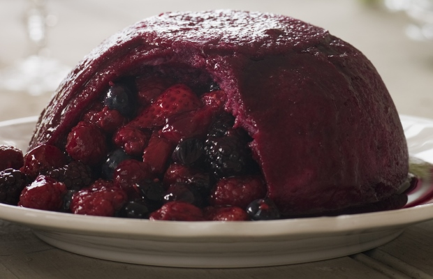 summer pudding with a slice cut out