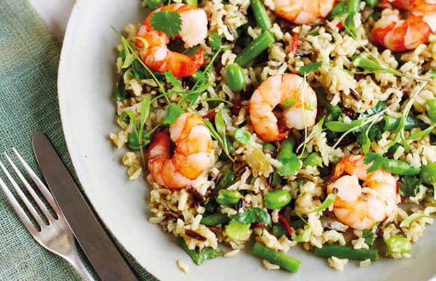 Prawns with  thai rice and beans