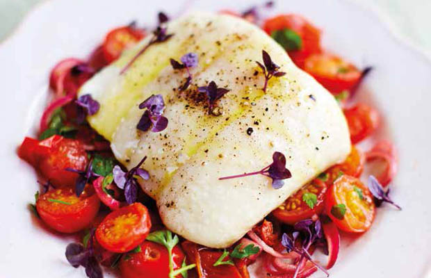 Halibut with roast tomato and herb dressing by Pippa Middleton, featured in Heartfelt book