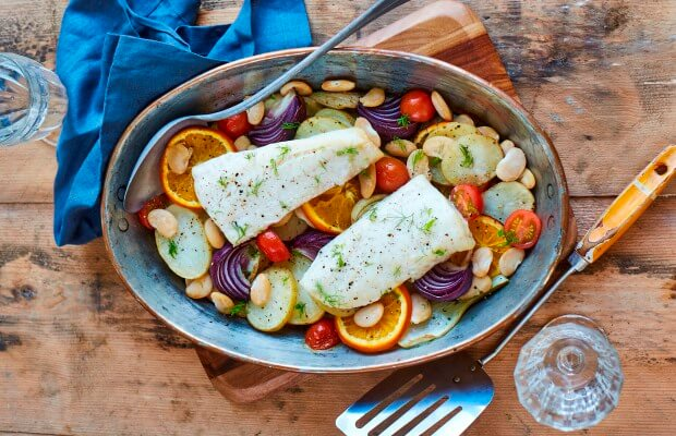 Traybake fish with fennel and orange