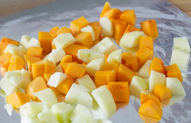 chopped apple and squash together
